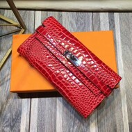 Hermes Kelly Wallet Alligator Leather Palladium Hardware In Red