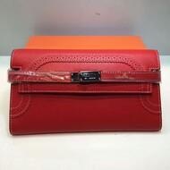 Hermes Kelly Wallet Swift Leather Palladium Hardware In Red