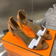 Hermes Premiere 70 Sandal Calfskin In Brown/White