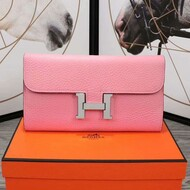 Hermes Constance Wallet Epsom Leather Palladium Hardware In Pink