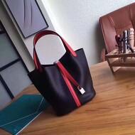Hermes Picotin Lock Bag Color Blocking Clemence Leather Palladium Hardware In Black