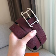 Hermes Society Buckle 32MM Reversible Belt Togo Leather In Burgundy