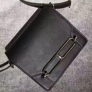 Hermes Roulis Bag Calfskin Leather Palladium Hardware In Black