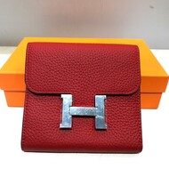 Hermes Constance Compact Wallet Togo Leather Palladium Hardware In Red