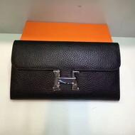Hermes Constance Wallet Togo Leather Palladium Hardware In Black