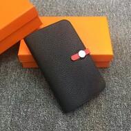 Hermes Dogon Card Holder Color Blocking Togo Leather Palladium Hardware In Black/Red