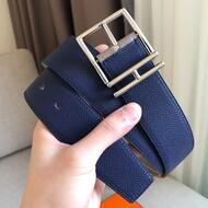Hermes Nathan 40 Belt Togo Leather In Navy Blue/Grey