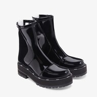 Fendi Biker Ankle Boots In Glossy Leather Black
