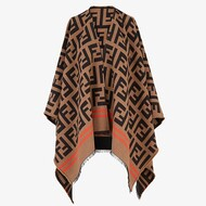 Fendi FF Enveloping Poncho In Wool Brown