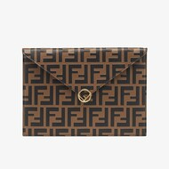 F is Fendi Large Flat Pouch In FF Calf Leather Brown