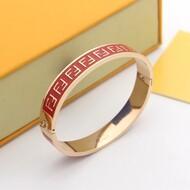 Fendi Enameled FF Ragid Bracelet In Metal Red/Rose Gold