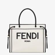 Fendi Medium Roma Shopper Bag In Undyed Canvas White