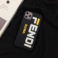 Fendi Mania iPhone Case In Leather Black