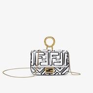 Fendi Nano Baguette Bag In FF Napper Leather White