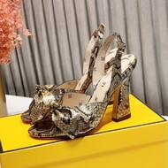 Fendi Karligraphy Sandals 90 In Python Leather Brown