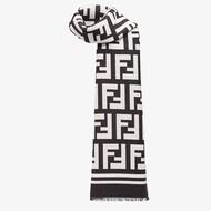 Fendi FF Scarf In Silk Black