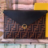 F is Fendi Large Flat Pouch In FF Calf Leather Brown/Black