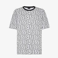 Fendi FF Contrasting T-Shirt In Cotton White