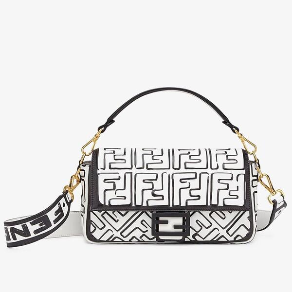 Fendi Baguette Bag In FF Napper Leather White