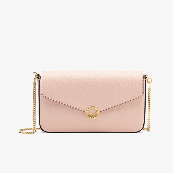F is Fendi Chain Wallet In Calf Leather Pink