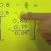 Subtracting Fractions from Decimals