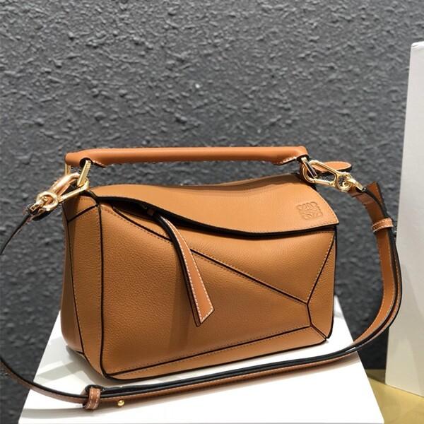 Loewe Small Puzzle Bag Grained Calfskin In Brown