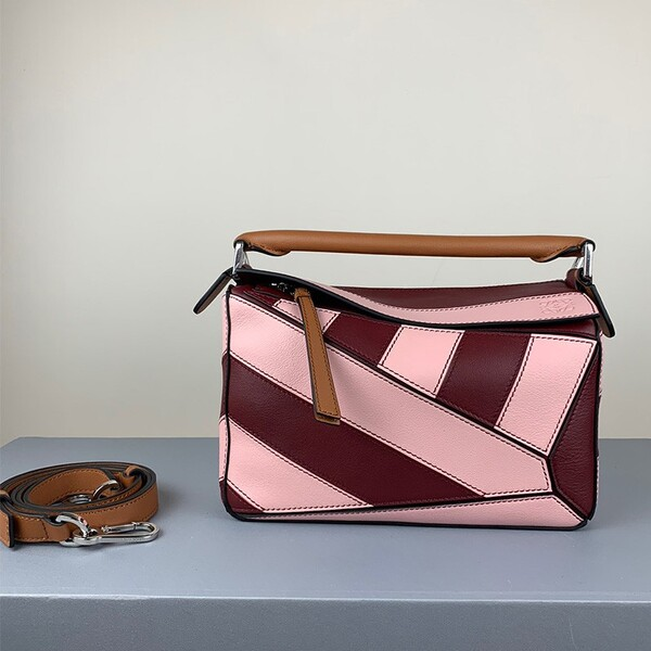 Loewe Small Puzzle Bag Geometric Calfskin In Burgundy/Pink