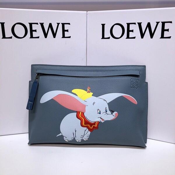 Loewe T Pouch x Dumbo Grained Calfskin In Blue