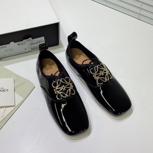 Loewe Anagram Soft Derby Women Patent Calfskin In Black