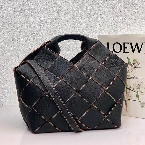 Loewe Large Woven Basket Bag Grained Calfskin In Black
