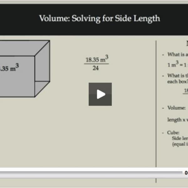 Volume: Solving for Side Length