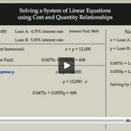 Solving a System of Linear Equations given Cost and Quantity Relationships