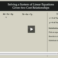 Solving a System of Linear Equations given two Cost Relationships