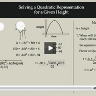 Solving a Quadratic Representation for a Given Height