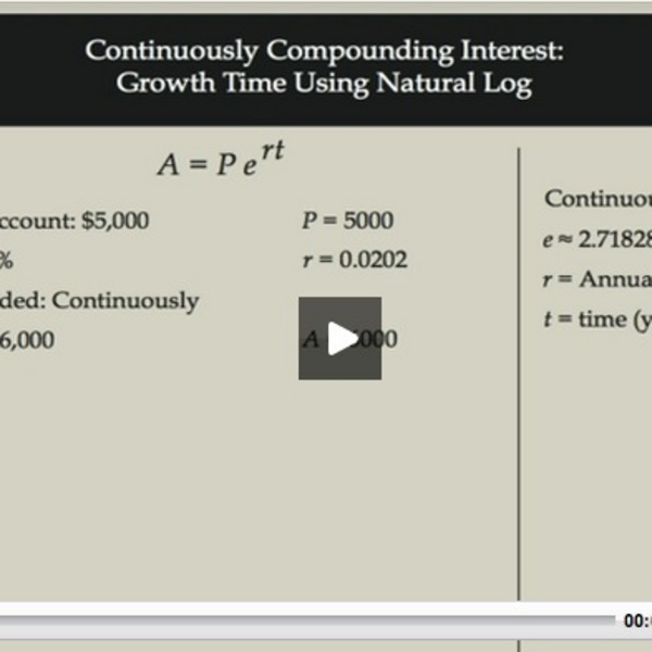 Continuously Compounding Interest: Growth Time Using Natural Log