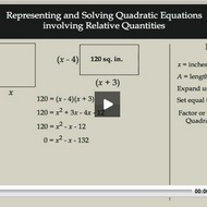 Representing and Solving Quadratic Equations Involving Relative Quantities