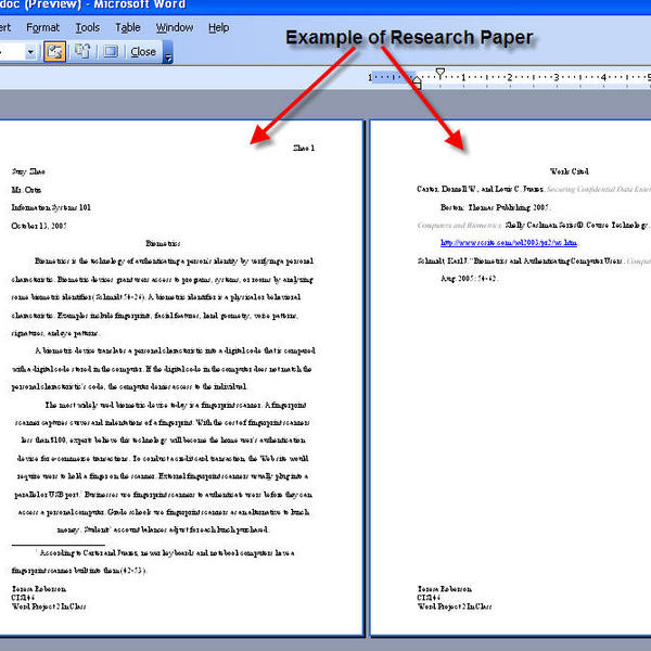 Including evidence in a research paper
