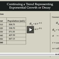 Continuing a Trend representing Exponential Growth or Decay