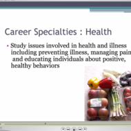 Career Specialties : Health, Medical, Gender, & Personality