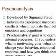 Psychotherapy: Psychoanalytical, Psychodynamic, & Gestalt Approaches