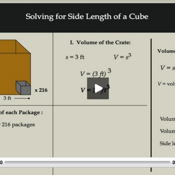 Solving for the Side Length of a Cube