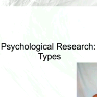 Psychological Research: Types