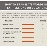 Two Step Equations in Words