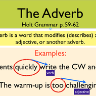 Parts of Speech Overview - Ch. 3: ADVERBS