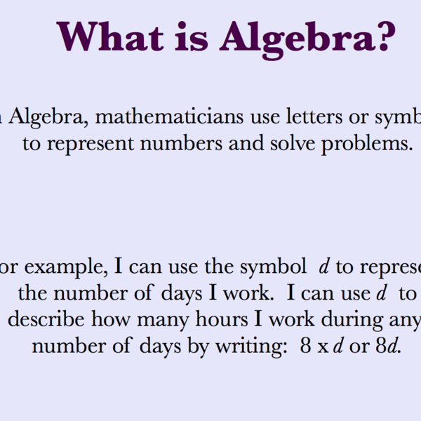 Algebra and Variables