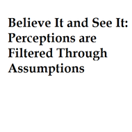 Believe it and see it: Perceptions are filtered through Assumptions