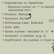 Translating Words into Algebraic Expressions and Equations