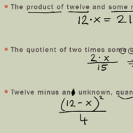 Writing Algebraic Expressions and Equations