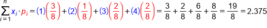 sum from i equals 1 to n of x subscript i times p subscript i equals open parentheses 1 close parentheses open parentheses 3 over 8 close parentheses plus open parentheses 2 close parentheses open parentheses fraction numerator begin display style 1 end style over denominator begin display style 8 end style end fraction close parentheses plus open parentheses 3 close parentheses open parentheses fraction numerator begin display style 2 end style over denominator begin display style 8 end style end fraction close parentheses plus open parentheses 4 close parentheses open parentheses fraction numerator begin display style 2 end style over denominator begin display style 8 end style end fraction close parentheses equals 3 over 8 plus 2 over 8 plus 6 over 8 plus 8 over 8 equals 19 over 8 equals 2.375